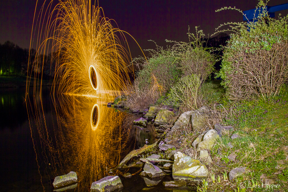 Lightpainting: Feuerrad am Kemnader See