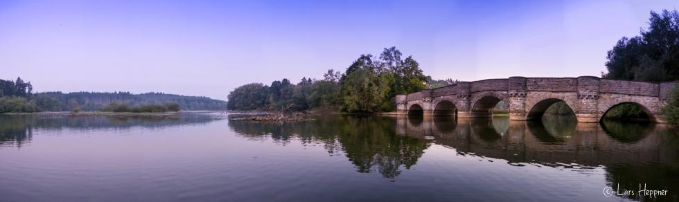 Panoramafoto: Die Kanzelbrücke am Möhnesee