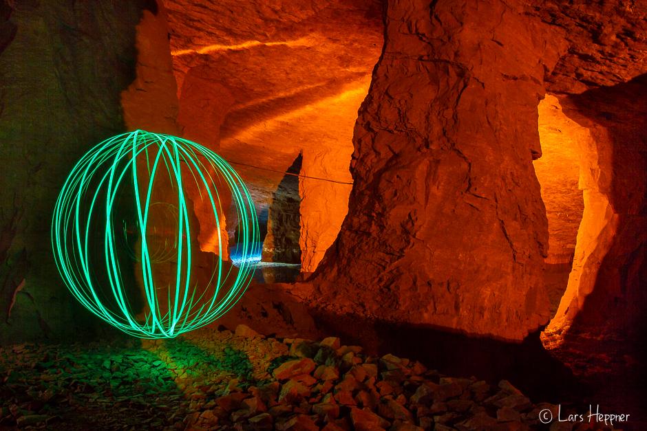 Lightpainting: Ein Orb im Bergwerk
