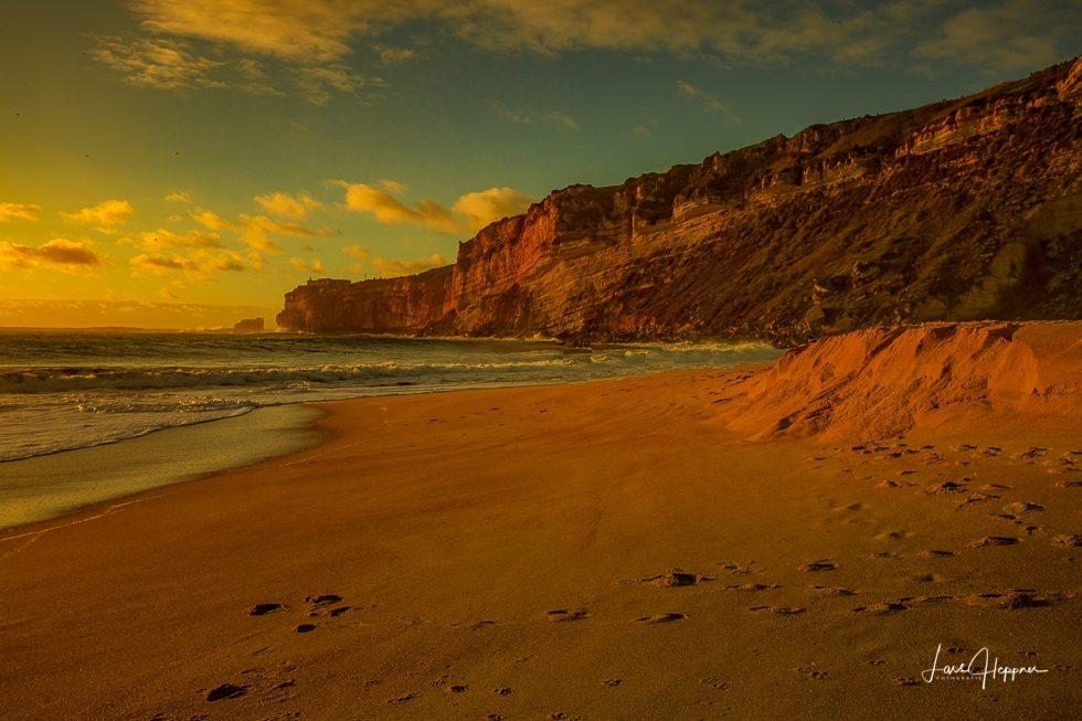 Praia da Nazaré zum Sonnenuntergang
