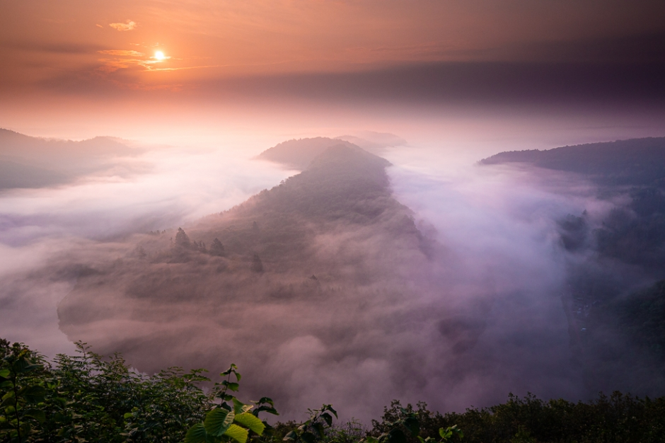 Nebel fotografieren - Die Saarschleife zum Sonnenaufgang