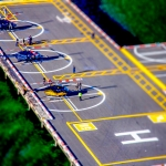 Helikopter Airport in New York aus der Luft (Tilt Shift)
