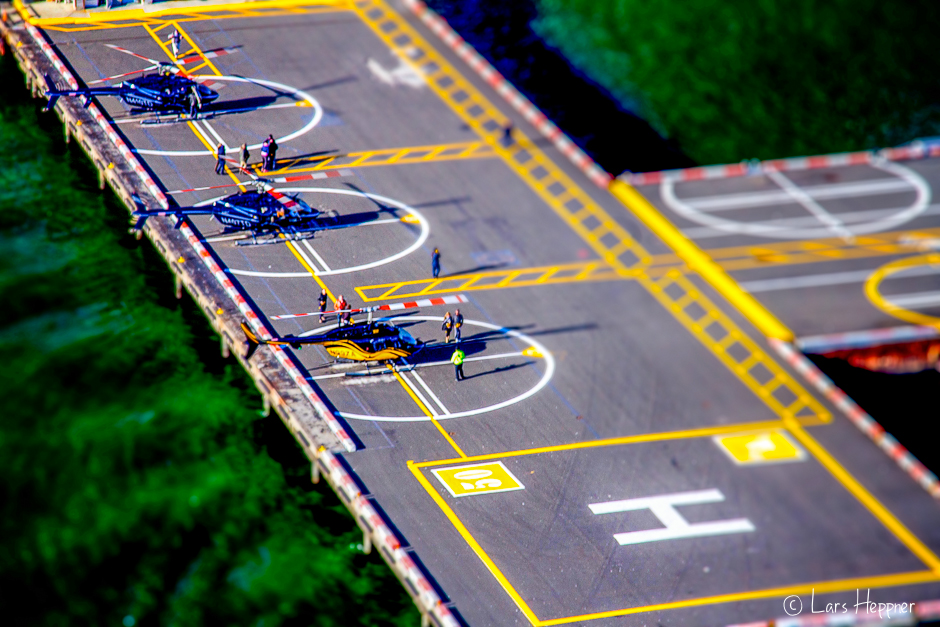 Helikopter Airport in New York aus der Luft (Tilt Shift)