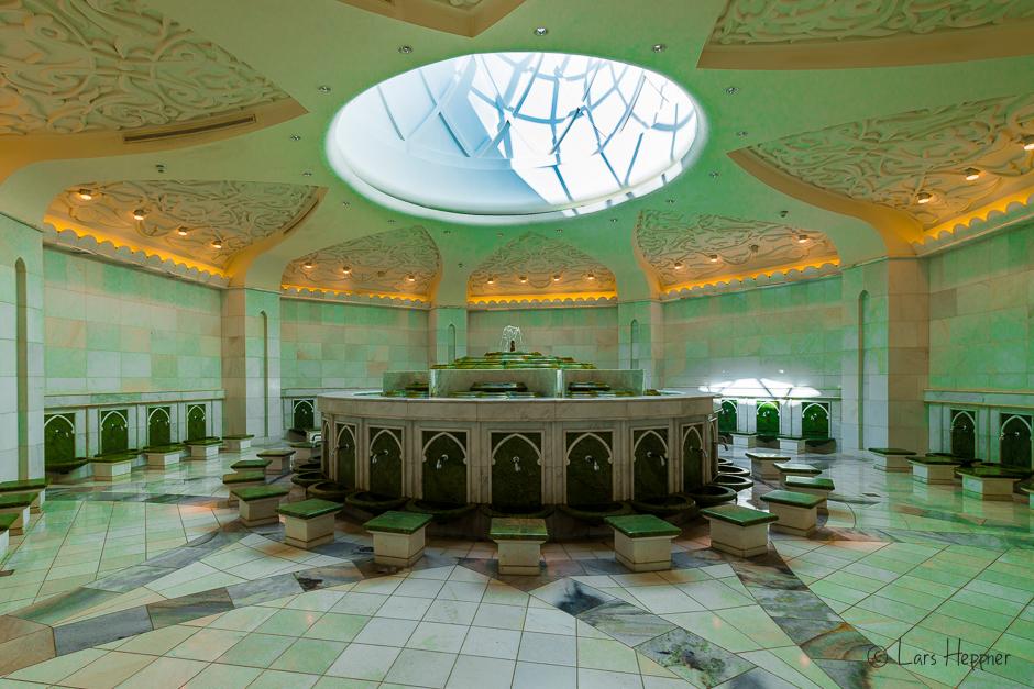 Der Waschraum befindet sich im Keller der Sheikh Zayid Moschee