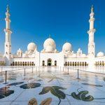 Fotos Sheikh Zayid Moschee Abu Dhabi am frühen Morgen