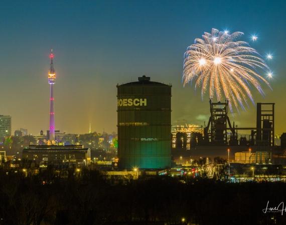 Feuerwerk fotografieren beim Winterleuchten in Dortmund Westfalenpark